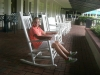 Relaxing on the terrace of the club house